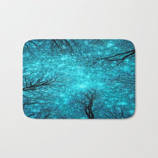 Black Trees TEAL SPACE Bath Mat