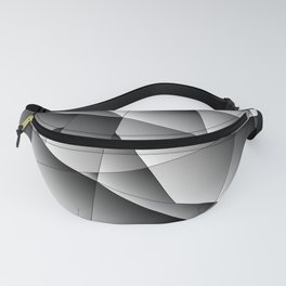 Exclusive monochrome pattern of chaotic black and white geometric shapes. Fanny Pack