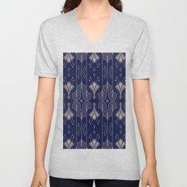 Lily Lake - Retro Floral Pattern Navy Blue Unisex V-Neck
