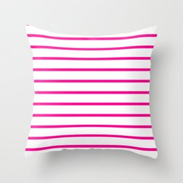 Horizontal Lines (Magenta/White) Throw Pillow
