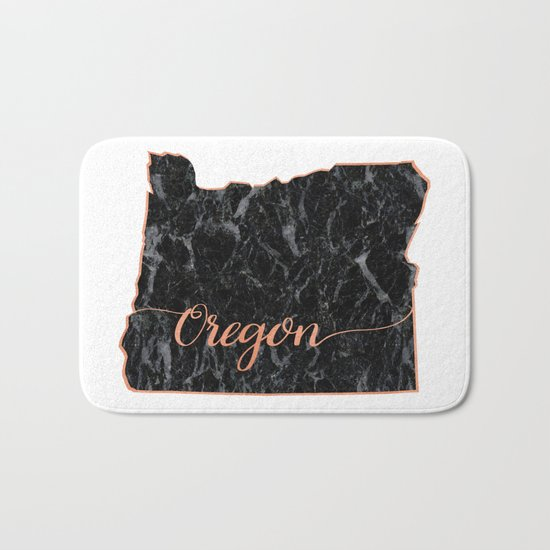 Oregon Rosegold Marble Map Outline Bath Mat