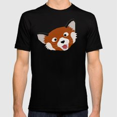 Red Panda Face Black Mens Fitted Tee MEDIUM