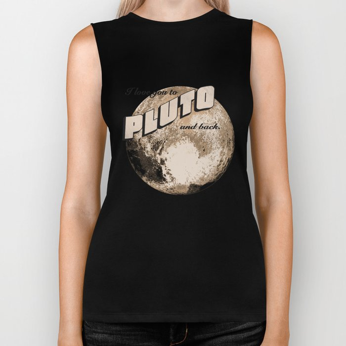 50s Postcard - love you to pluto and back Biker Tank