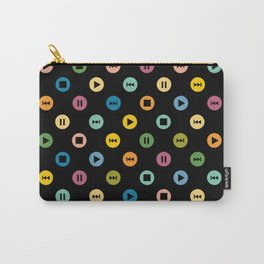 Music Player Icons Polka Dots (Multicolor on Black) Carry-All Pouch