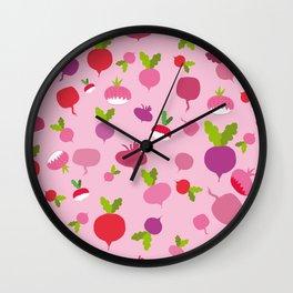 Pink Radish Wall Clock