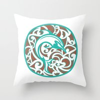 maori Throw Pillows featuring Maori Dolphin by freebornline