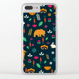 Cute little animals among flowers Clear iPhone Case