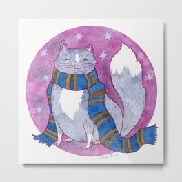 Smart Witch Cat in a Blue and Bronze Scarf Metal Print