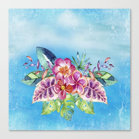 Tropical Jungle Flowers - Aloha Beach - on #Society6 Canvas Print
