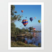hot air balloon Art Prints featuring Hot air balloon scene by Bruce Stanfield