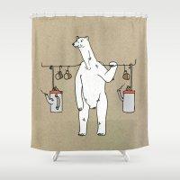 polar bear Shower Curtains featuring Polar bear by Madmi