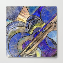 Abstract Violin Art Collage Mixed Textures Metal Print