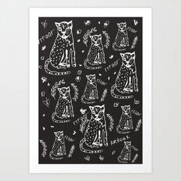 charismatic leopard Black pattern Art Print