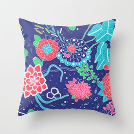 Flowers and Cactus Throw Pillow