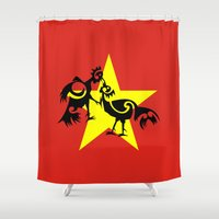 vietnam Shower Curtains featuring Vietnam Flag, Roosters Sparring by mailboxdisco