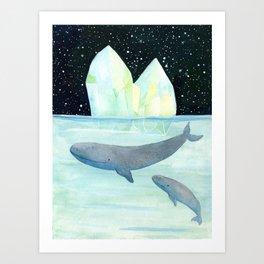 Cool whales on Antarctica Art Print