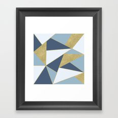 Abstract Blue and Gold Framed Art Print