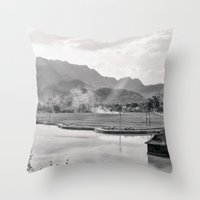 vietnam Throw Pillows featuring Vietnam Landscape by Ewan Arnolda