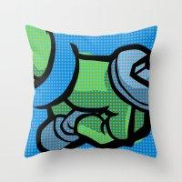 lichtenstein Throw Pillows featuring Lichtenstein Pop Martial Art Chelonians | Blue by Butcher Billy