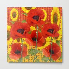 ORANGE POPPIES YELLOW SUNFLOWERS ART Metal Print