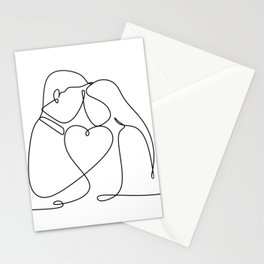Passionate couple line Stationery Cards