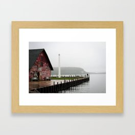 A Man by a Painted Shed on a Misty Day Framed Art Print