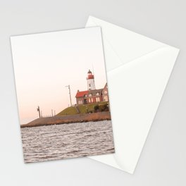 Lighthouse At Sunset Sea View Photo | Coast Of Dutch Village Urk Art Print | Europe Travel Photography Stationery Cards