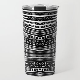 Linocut Tribal Pattern Travel Mug