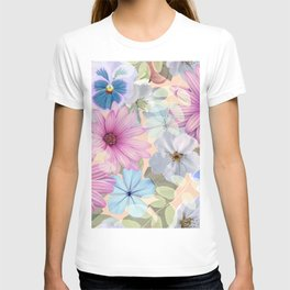 Pink and blue floral pattern T-shirt