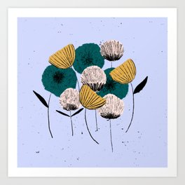 Textured inky flowers Art Print