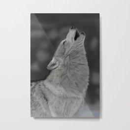 Lone Wolf Animal Digital Painting Metal Print