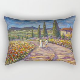 "Tuscany Painting on Canvas 37.8"" Landscape Painting Italy Country Art Impressionist Painting Tuscan Rectangular Pillow"