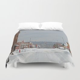 Snow in a Small City Duvet Cover