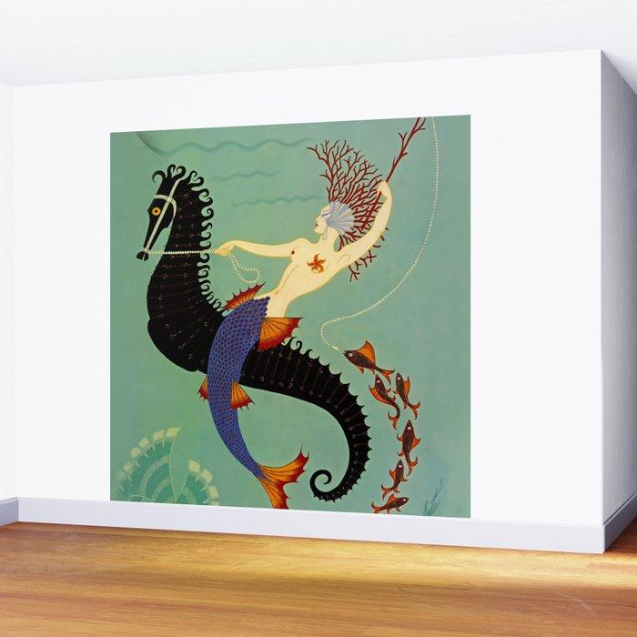 "Art Deco Illustration ""Water"" Wall Mural"