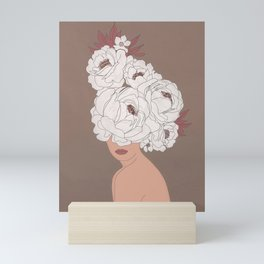 Woman with Peonies Mini Art Print
