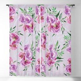 Purple mauve watercolor peonies falling bouquets Blackout Curtain