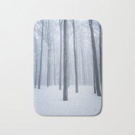 Foggy frozen winter forest Bath Mat