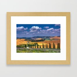Cypress trees and meadow with typical tuscan house Framed Art Print