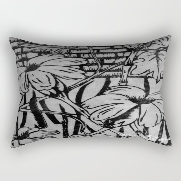 Black and White Palm Flowers by my Mom Rectangular Pillow