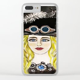 Steampunk Beauty Clear iPhone Case
