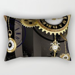 Antique Clock with Keys ( Steampunk ) Rectangular Pillow
