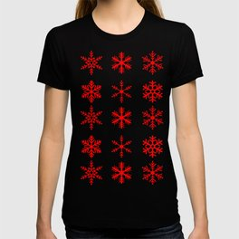 red snowflake seamless pattern T-shirt