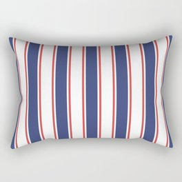 Nautical Red and Blue Stripes 2 Rectangular Pillow