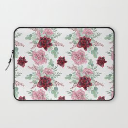 Succulents Pastel Red Pink Mint Green Pattern 2 Laptop Sleeve