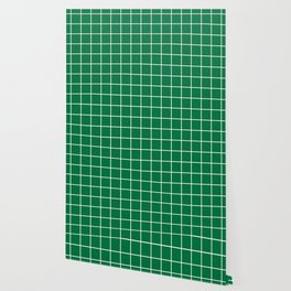 Dartmouth green - green color - White Lines Grid Pattern Wallpaper