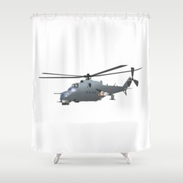 Russian Attack Helicopter Mi-24 Shower Curtain