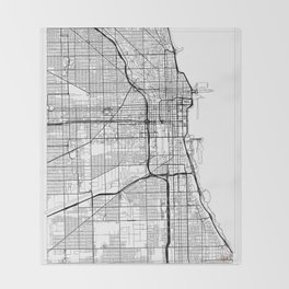 Chicago Map White Throw Blanket
