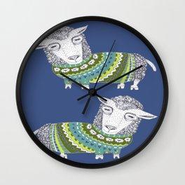Sheep wearing Fair Isle knitted sweater Wall Clock