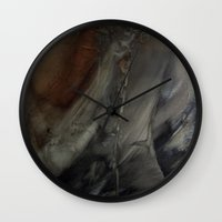 imagerybydianna Wall Clocks featuring melusine, pause before flight by Imagery by dianna