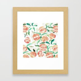 Watercolor Peaches Framed Art Print